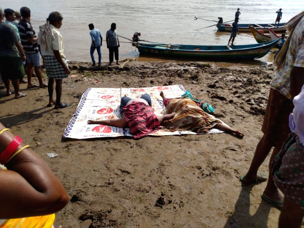 Godavari: The bodies of those who were killed after a boat with about 60 tourists capsized in Godavari river in Andhra Pradesh's East Godavari district on Sep 15, 2019. At least seven persons were killed and many others were missing. (Photo: IANS)