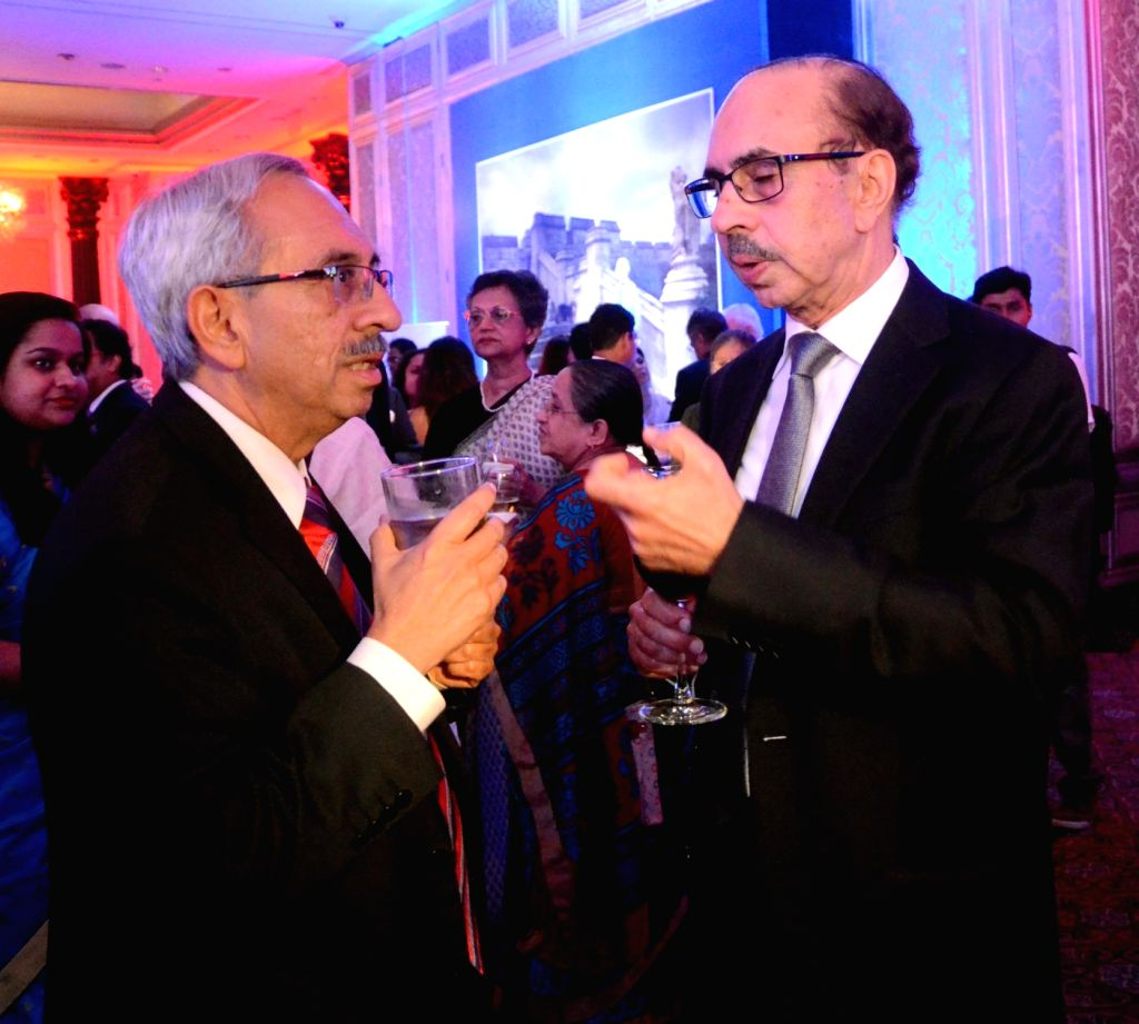 Godrej Group Chairman Adi Godrej (R) and Managing Director Nadir Godrej (L) during a reception hosted by the British Deputy High Commissioner Shekhar Iyer to celebrate the 90th birthday of ...