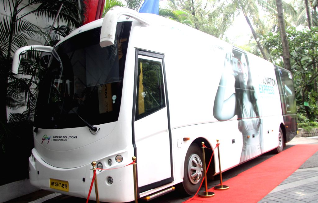 Godrej  launches Innovation Express a Mobile Experience Centre during press conference in Bangalore on Aug 12, 2014.