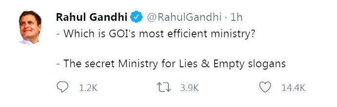 GOI's most efficient ministry of Lies & Empty Slogans: Rahul.(photo:Rahul Gandhi Twitter) - Rahul Gandhi Twitter