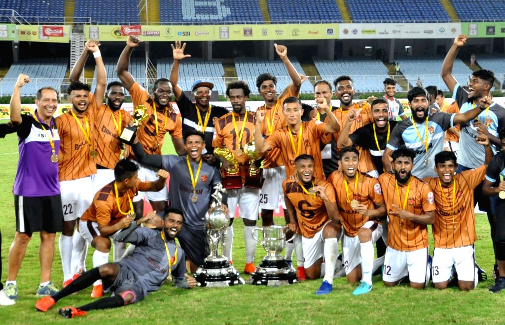 Gokulam FC players celebrate after winning Durand Cup final against Mohun Bagan A.C. in Kolkata on Aug 24, 2019.