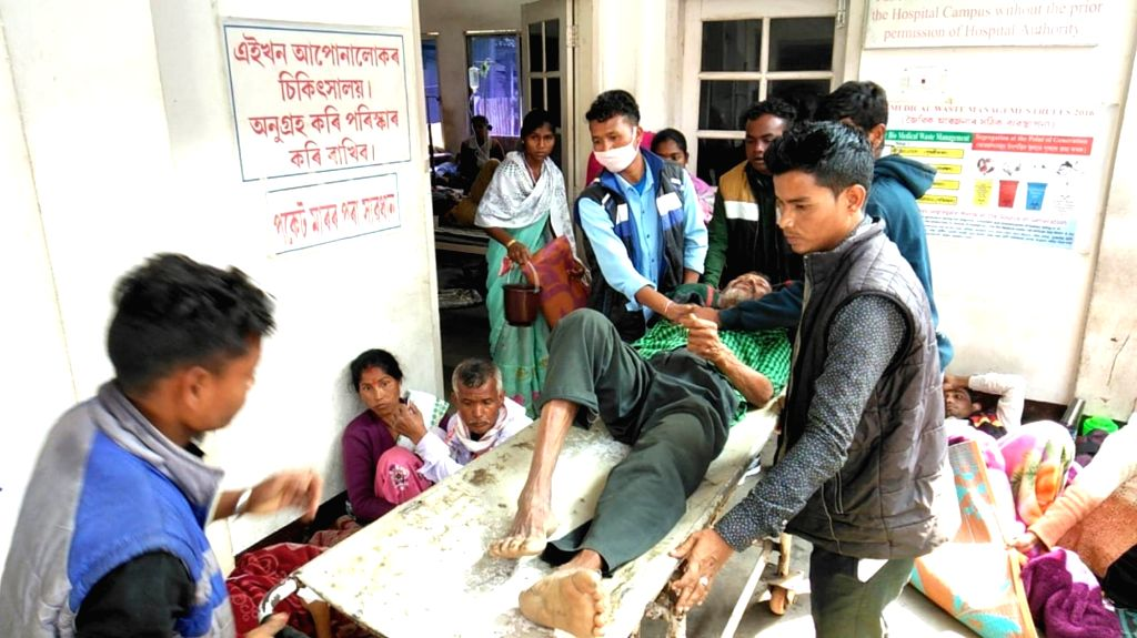 Golaghat: Victims of Assam hooch tragedy being treated at a hospital in Golaghat district of Assam on Feb 25, 2019. (Photo: IANS)