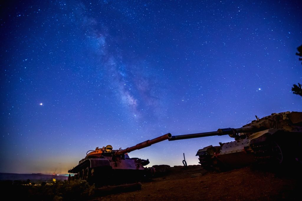 GOLAN HEIGHTS, Aug. 11, 2018 - Photo taken on Aug. 9, 2018 shows the starry sky in Golan Heights.