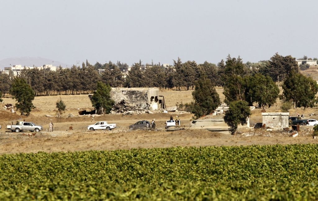 GOLAN HEIGHTS, July 27, 2018 - A picture taken on July 26, 2018, from the settlement of Ein Zivan in the Israeli-occupied Golan Heights.The Syrian army on Thursday hoisted the Syrian national flag ...