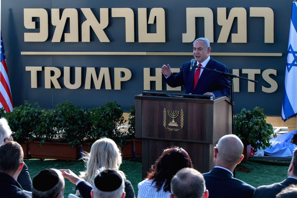 "GOLAN HEIGHTS, June 16, 2019 - Israeli Prime Minister Benjamin Netanyahu speaks during the unveiling ceremony of ""Trump Heights"" in Golan Heights, on June 16, 2019. Israel's government on ... - Benjamin Netanyahu"