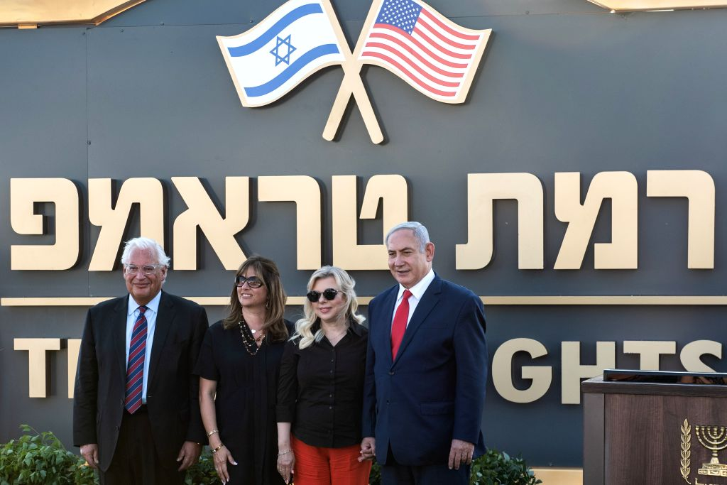 "GOLAN HEIGHTS, June 16, 2019 - Israeli Prime Minister Benjamin Netanyahu (1st R) and U.S. Ambassador to Israel David Friedman (1st L) attend the unveiling ceremony of ""Trump Heights"" in ... - Benjamin Netanyahu"