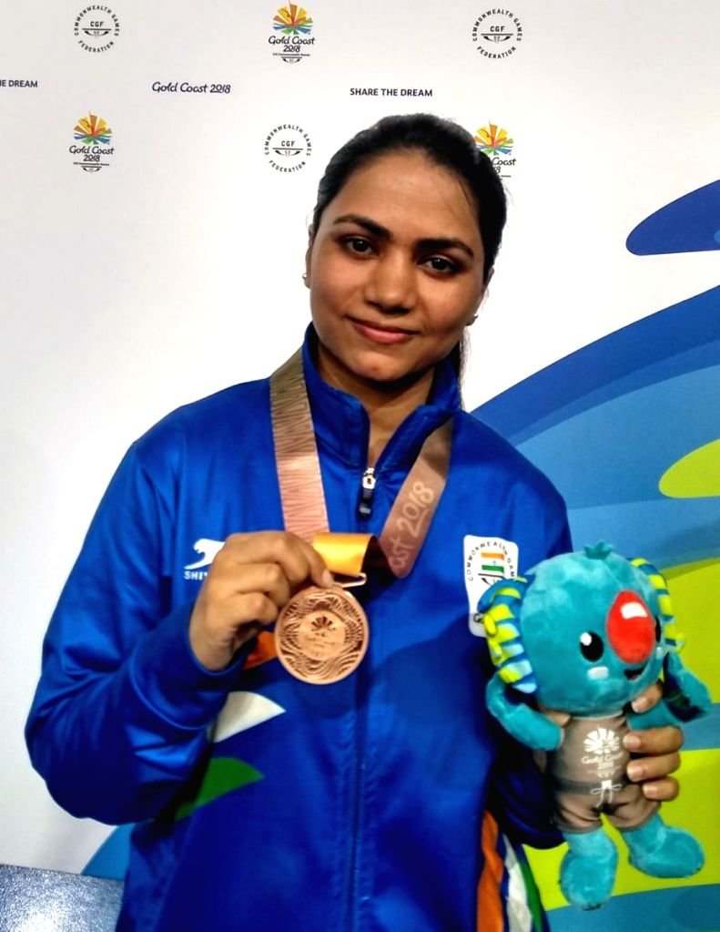 Gold Coast: Indian shooter Apurvi Chandela who bagged bronze in women's 10m Air Rifle event at the 21st Commonwealth Games  in Gold Coast, Australia. (Photo: IANS/Twitter/@PMOIndia)
