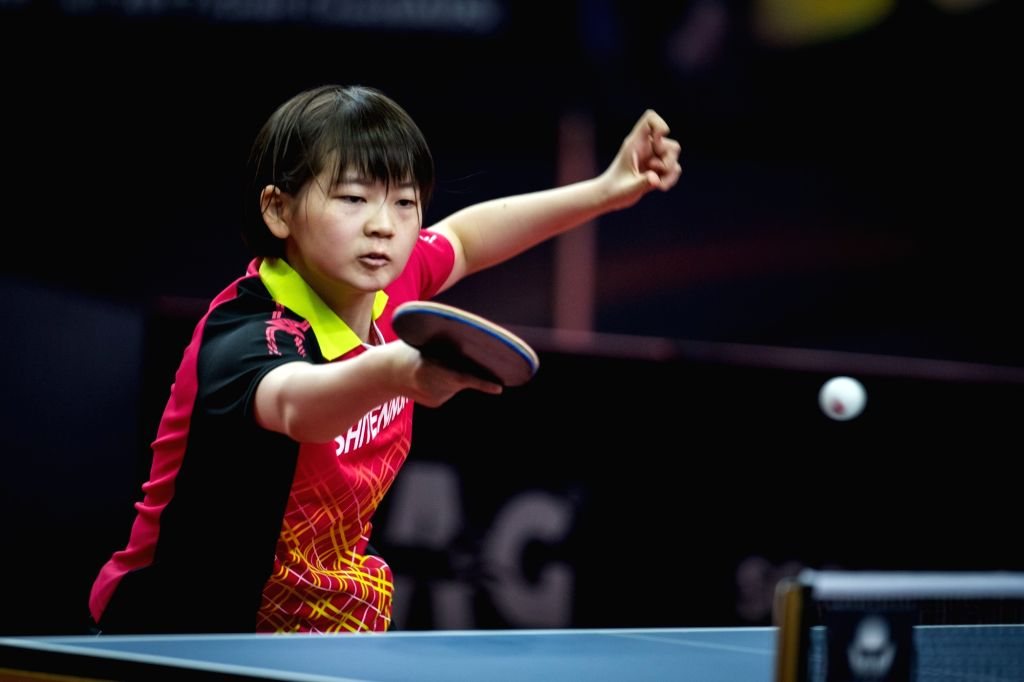 GOLD COAST, July 6, 2017 - Shiomi Maki of Japan competes during the women's singles quarterfinal match against Zhu Yuling of China at 2017 ITTF World Tour Platinum Australia Open in Gold Coast, ...