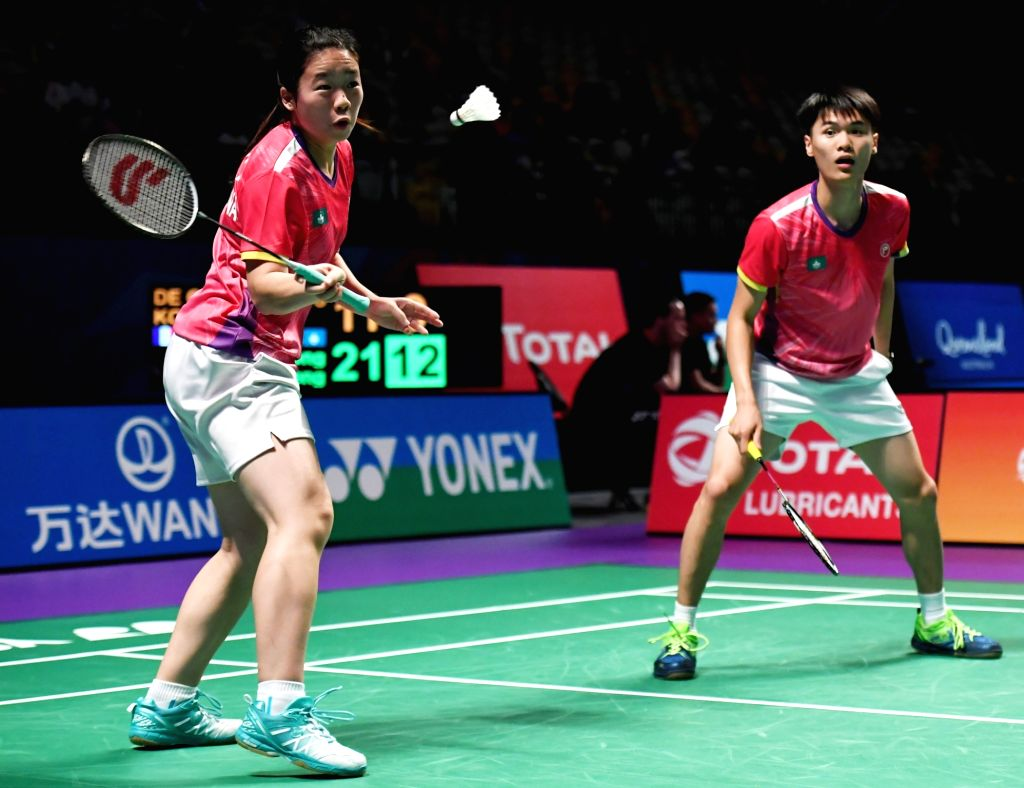 GOLD COAST, May 23, 2017 - Iek U Ieong(R)/Wong Kit Ieng of China's Macao compete during the mixed doubles match of Group 3-Group 3A against New Caledonia's Yohan de Geoffroy/Johanna Kou at TOTAL BWF ...