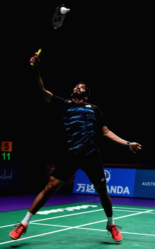 GOLD COAST, May 23, 2017 - Kidambi Srikanth of India competes during the men's singles match of Group 1-Group 1D against Jonatan Christie of Indonesia at TOTAL BWF Sudirman Cup 2017 in Gold Coast, ...