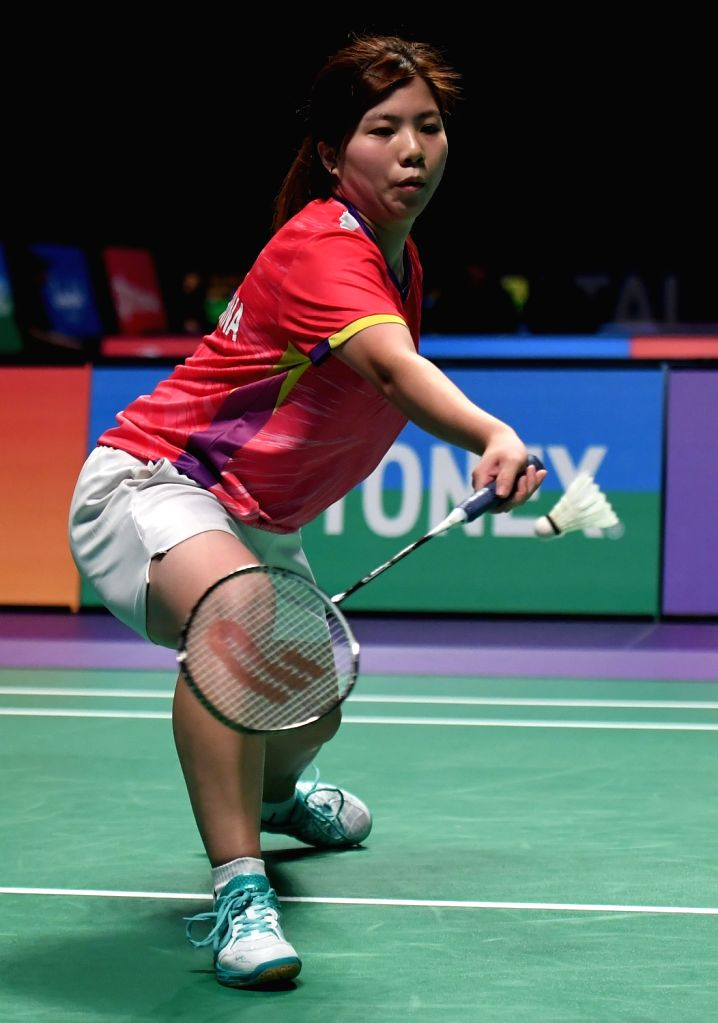 GOLD COAST, May 23, 2017 - Ng Weng Chi of China's Macao competes during the women's singles match of Group 3-Group 3A against New Caledonia's Dgenyva Matauli at TOTAL BWF Sudirman Cup 2017 in Gold ...