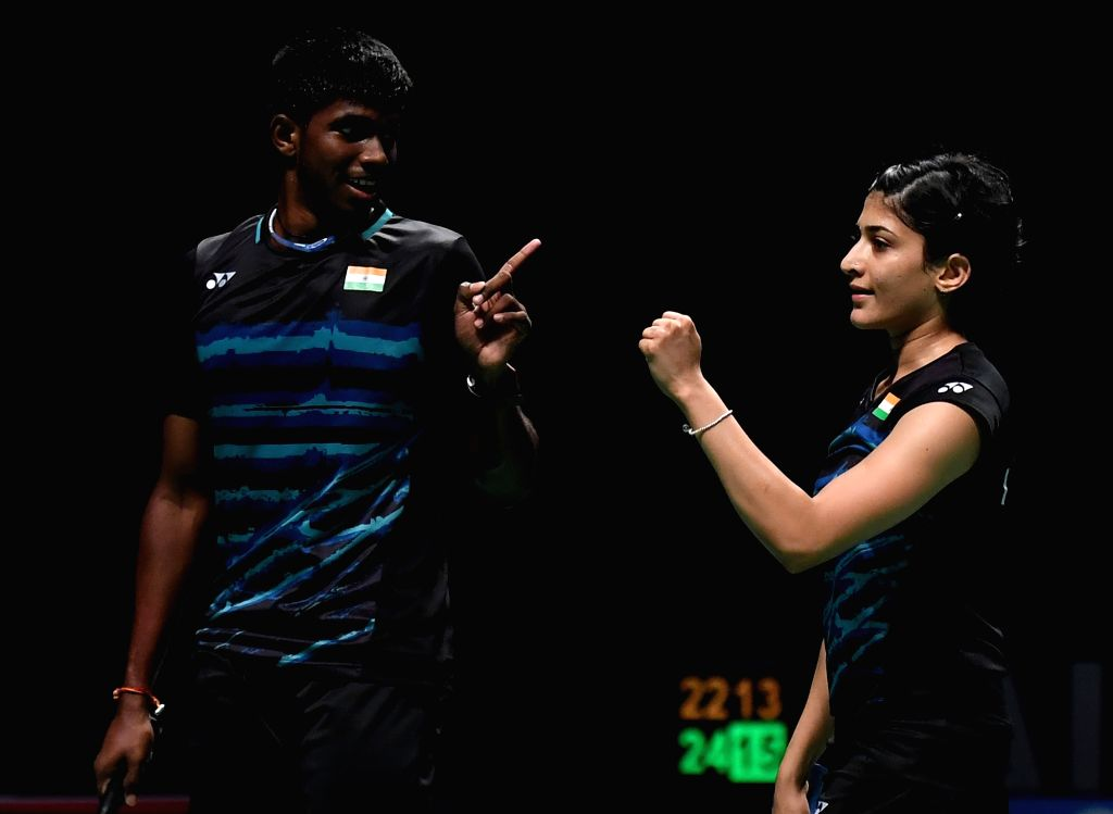 GOLD COAST, May 23, 2017 - Satwiksairaj Rankireddy(L)/Ashwini Ponnappa of India react during the mixed doubles match of Group 1-Group 1D against Tontowi Ahmad/Gloria Emanuelle Widjaja of Indonesia at ...