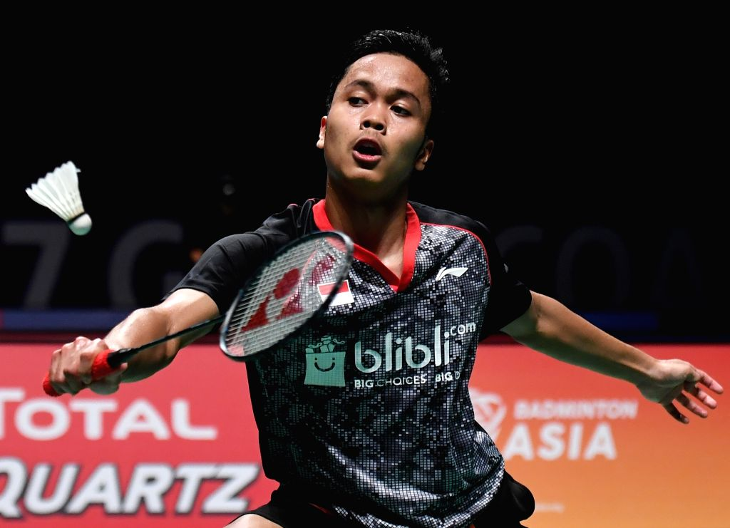 GOLD COAST, May 24, 2017 - Anthony Sinisuka Ginting of Indonesia competes during the men's singles match of Group 1-Group 1D against Viktor Axelsen of Denmark at TOTAL BWF Sudirman Cup 2017 in Gold ...