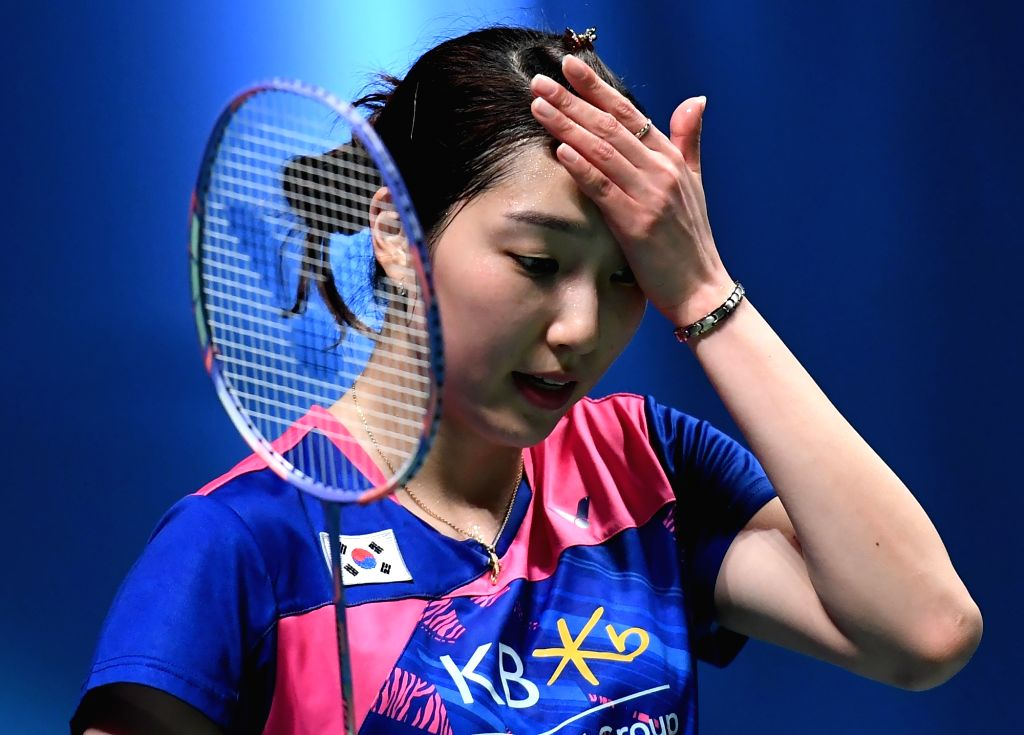 GOLD COAST, May 24, 2017 - South Korea's Sung Ji Hyun reacts during the women's single's match of Group 1B against Chinese Taipei's Tai Tzu Ying at TOTAL BWF Sudirman Cup 2017 in Gold Coast, ...