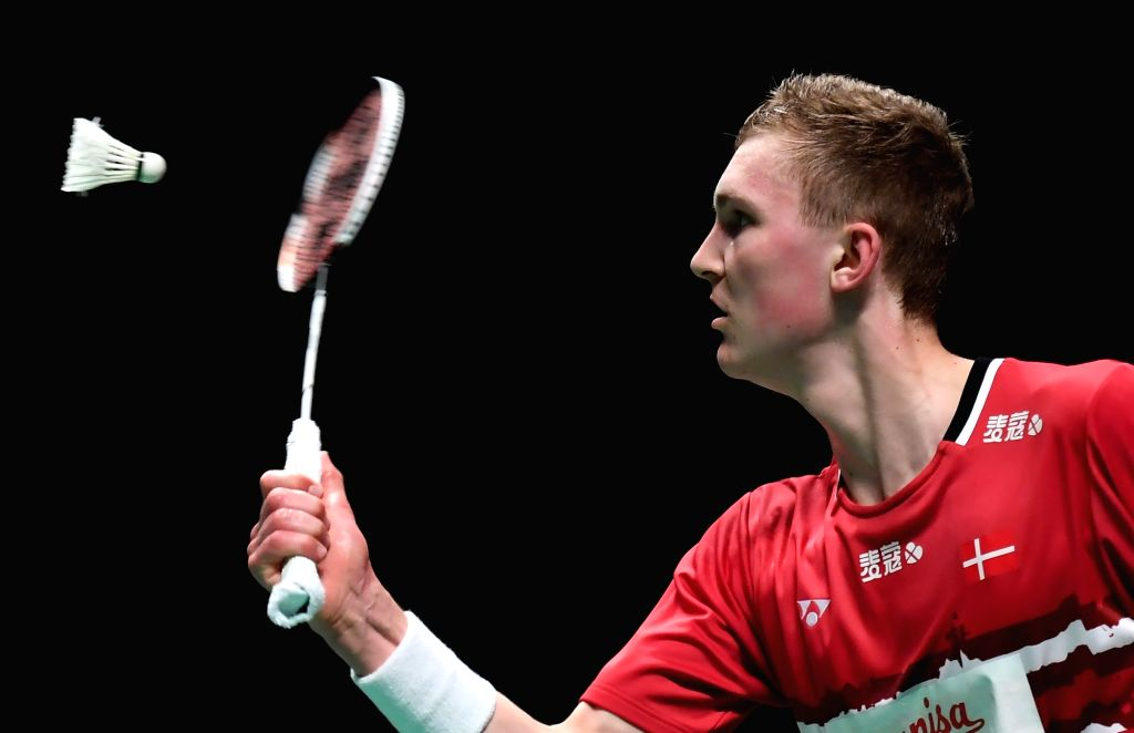 GOLD COAST, May 24, 2017 - Viktor Axelsen of Denmark competes during the men's singles match of Group 1-Group 1D against Anthony Sinisuka Ginting of Indonesia at TOTAL BWF Sudirman Cup 2017 in Gold ...