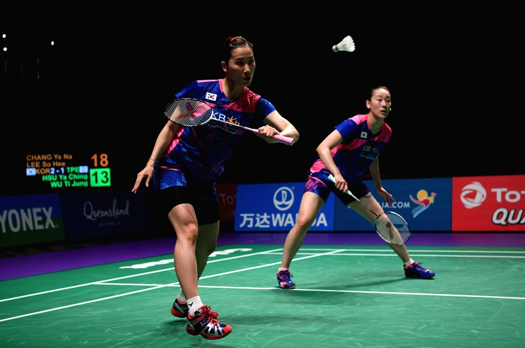 GOLD COAST, May 25, 2017 - Chang Ye Na(L)/Lee So He of South Korea compete during the women's doubles match of Group 1 against Hsu Ya Ching/Wu Ti Jung of Chinese Taipei at TOTAL BWF Sudirman Cup 2017 ...