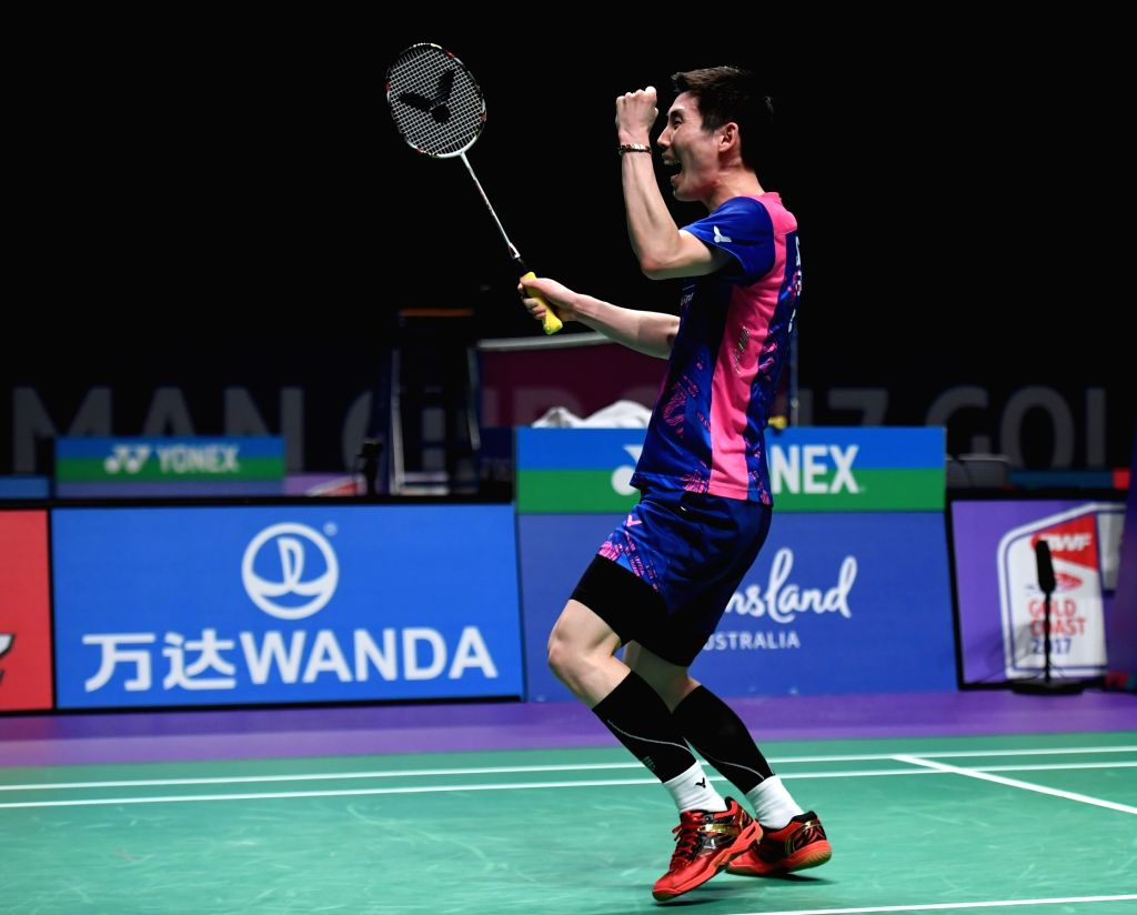 GOLD COAST, May 25, 2017 - Son Wan Ho of South Korea celebrates during the men's singles match of Group 1 against Chou Tien Chen of Chinese Taipei at TOTAL BWF Sudirman Cup 2017 in Gold Coast, ...