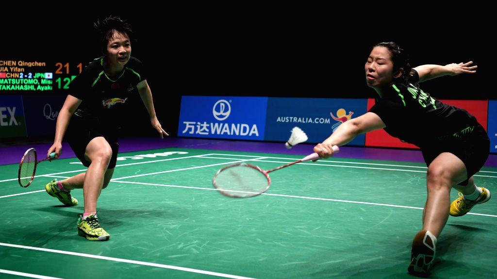 GOLD COAST, May 27, 2017 - China's Chen Qingchen/Jia Yifan(R) compete during the women's doubles match against Japan's Matsutomo Misaki/Takahashi Ayaka at the semifinal between China and Japan at ...