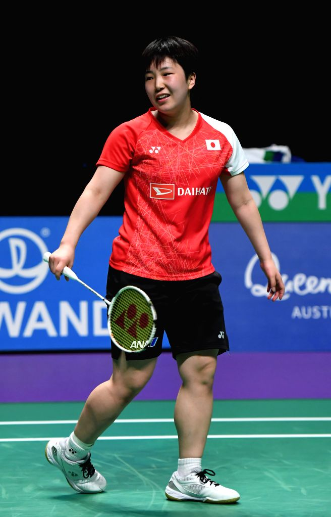 GOLD COAST, May 27, 2017 - Japan's Yamaguchi Akane reacts during the women's singles match against China's Sun Yu at the semifinal between China and Japan at TOTAL BWF Sudirman Cup 2017 in Gold ...
