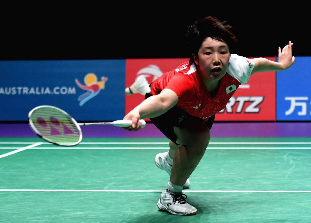 GOLD COAST, May 27, 2017 - Japan's Yamaguchi Akane returns the shuttlecock during the women's singles match against China's Sun Yu at the semifinal between China and Japan at TOTAL BWF Sudirman Cup ...