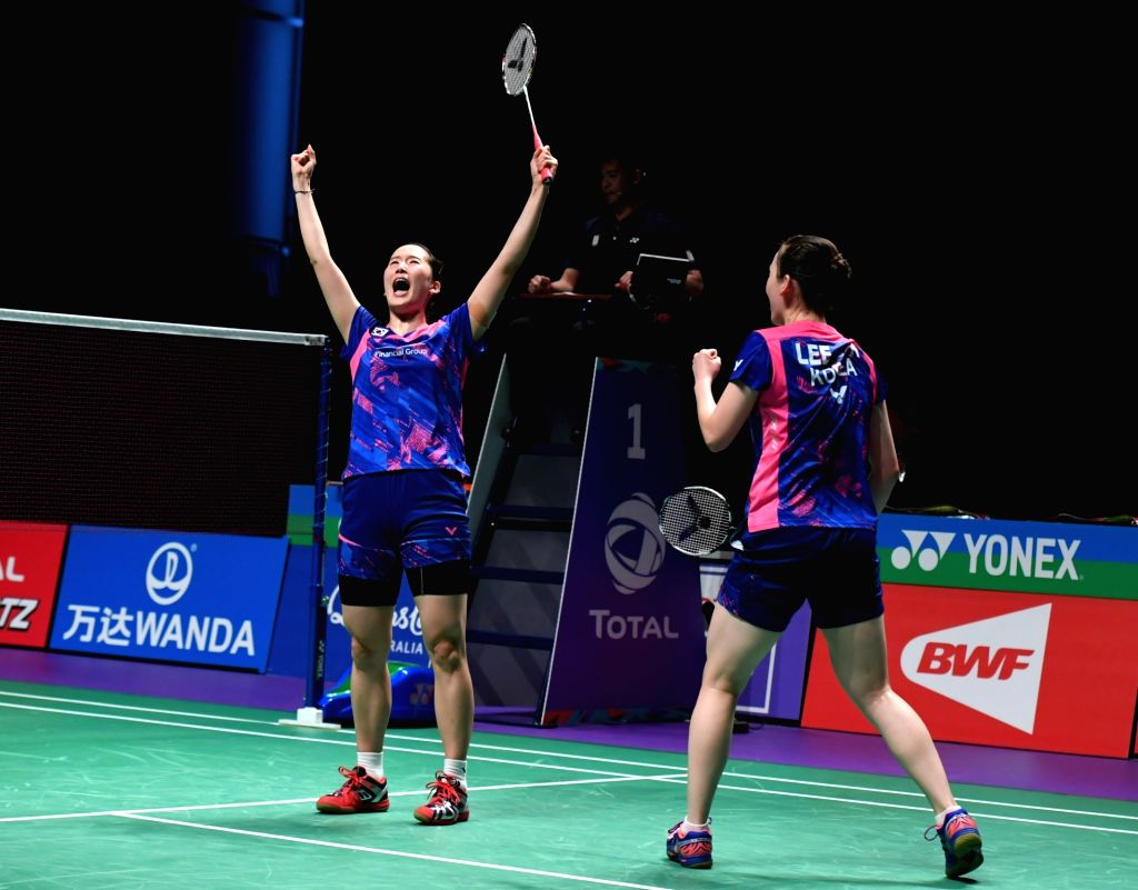 GOLD COAST, May 28, 2017 - South Korea's Chang Ye Na (L) and Lee So Hee celebrate after the women's doubles match against China's Chen Qingchen and Jia Yifan at the final between China and South ...