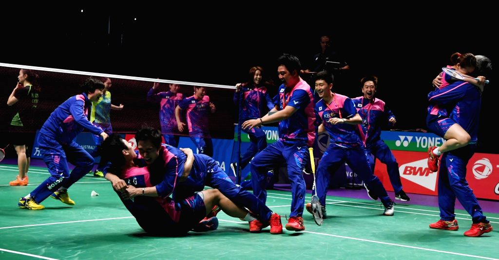 GOLD COAST, May 28, 2017 - Team memebers of South Korea celebrates victory after the final between China and South Korea at TOTAL BWF Sudirman Cup 2017 in Gold Coast, Australia, May 28, 2017. South ...