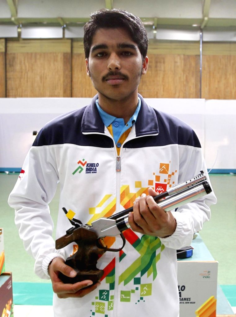 Gold medal winner in the 10M Air Pistol event for boys Saurabh Choudhary (Allahabad), in New Delhi on Feb 4, 2018. - Saurabh Choudhary