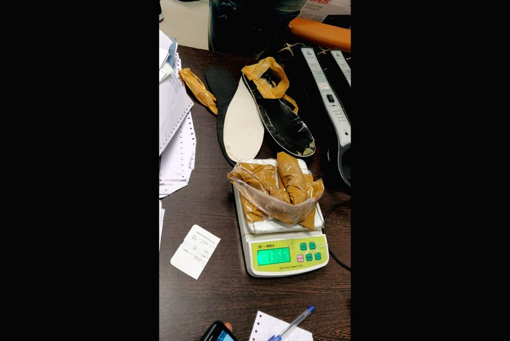 Gold worth Rs. 48.50 lakh weighing 1.6 kg was seized by the Customs officials from a passenger who arrived at Goa's Dabolim International Airport from Oman, on May 21, 2019. Gold plates ...