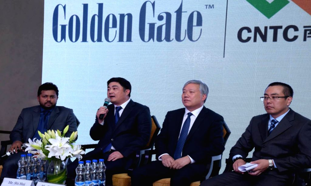 "Golden Gate Co-Promoter Sanjay Raj, CNTC Group Vice Chairman Sui Hui, CNTC India Chairman Xui Bin and CNTC India MD and CEO Mao Jian Dong during a press conference to announce ""The ..."
