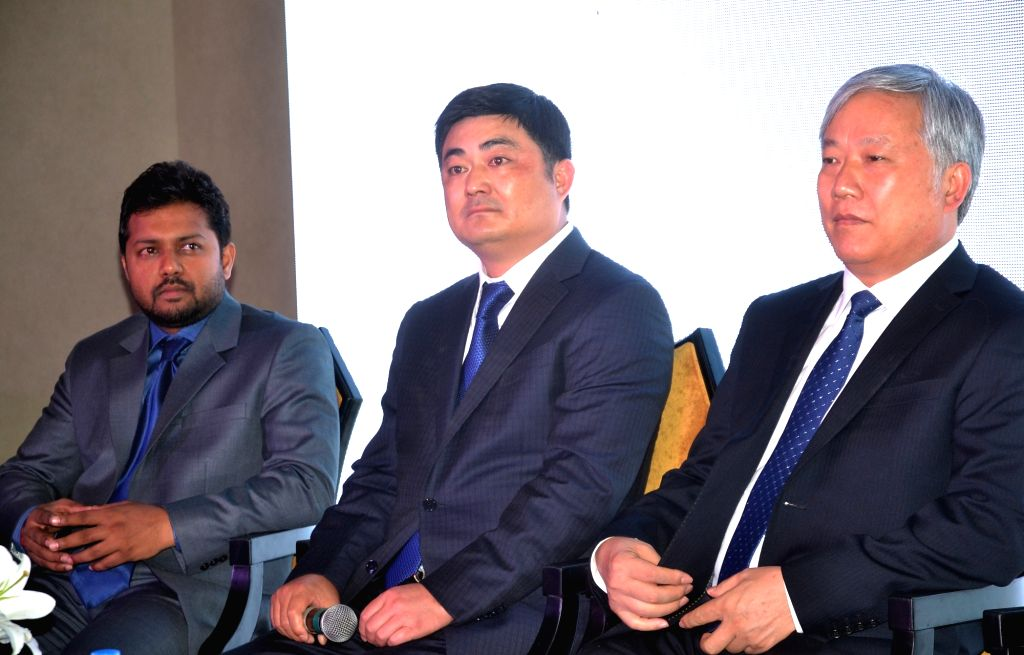 "Golden Gate Co-Promoter Sanjay Raj, CNTC Group Vice Chairman Sui Hui and CNTC India Chairman Xui Bin during a press conference to announce ""The Presidential Tower"" 1st project of ..."