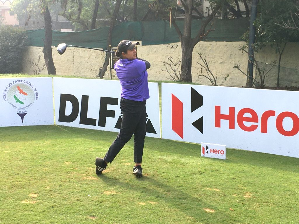 Golfer Amandeep Drall in action during the first Leg of the Hero Women's Pro Golf Tour 2020 at the Poona Club Golf Course in Pune on Jan 9, 2020.