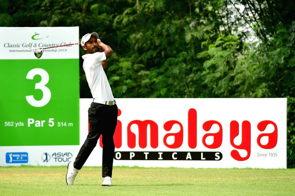 Golfer Rashid Khan in action at the Classic Golf and Country Club International Championship 2019 in Gurugram on Sep 14, 2019. - Rashid Khan