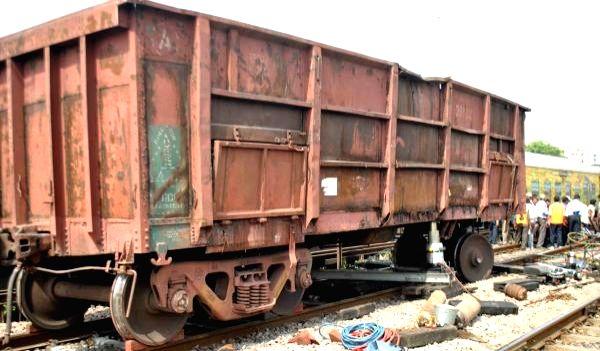 Goods train derails in Uttar Pradesh.