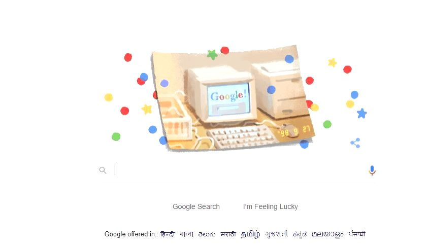 Google celebrated its 21st birthday on Friday with a retro doodle accompanied by a photo of a bulky computer that shows a Google search screen. The doodle also has a timestamp dating back to September 27, 1998, the day the search giant was establishe