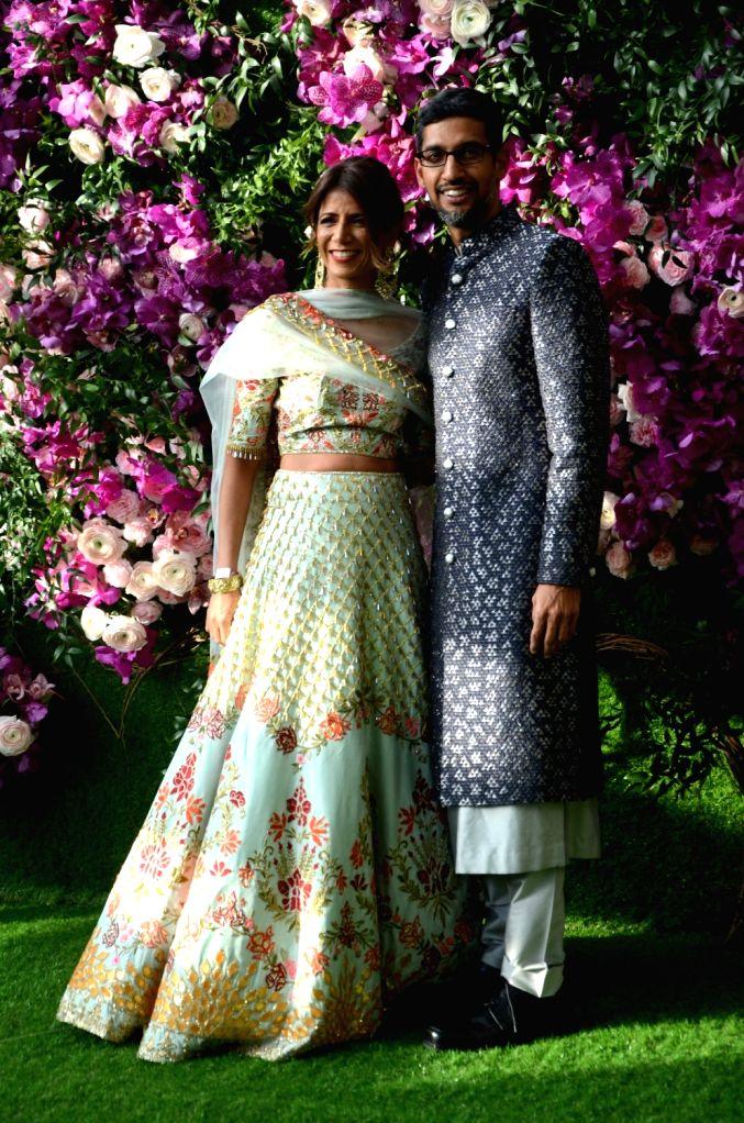 Google CEO Sundar Pichai at the wedding festivities of Akash Ambani and Shloka Mehta in Mumbai on March 9, 2019. - Akash Ambani and Shloka Mehta