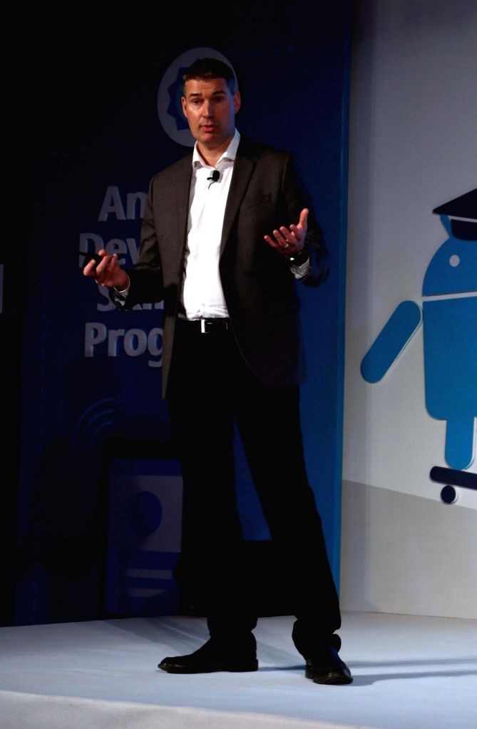 Google Developer training Head Peter Lubbers addresses at the launch of Android Skilling Program in India in New Delhi, on July 11, 2016.