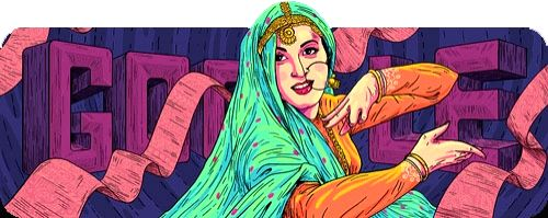 """Google doodled the star-crossed iconic character from """"Mughal-E-Azam"""", Anarkali, made indelible in movie lovers' mind by the effervescent Madhubala who would have been 86 on Thursday"""