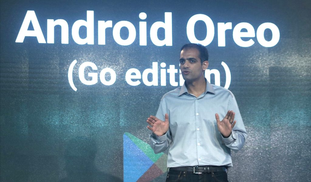 Google Play and Android VP (Product Management) Sameer Samat addresses during the third edition of Google for India in New Delhi, on Dec 5, 2017.