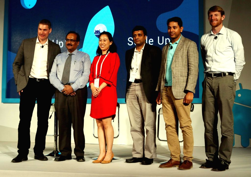 Google Vice President Caesar Sengupta, Google Developer training Head Peter Lubbers and Android Vice president Brian Rakowski and others at the launch of Android Skilling Program in India ...