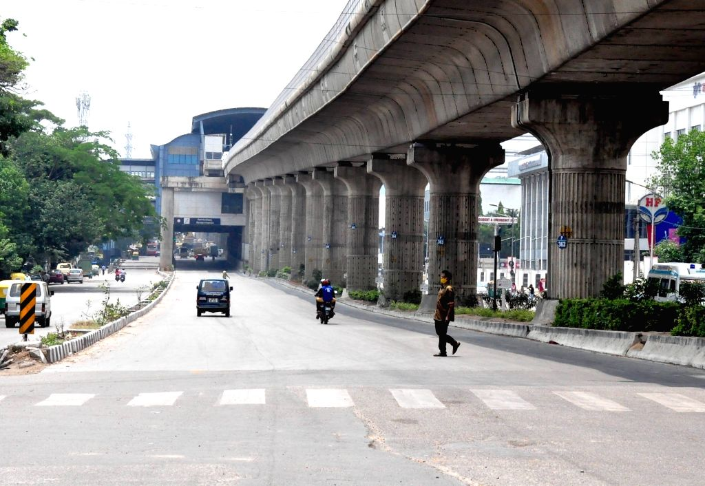 Goraguntepalya (Tumkur Road Highway) wears a deserted look ahead of night curfew and Weekend curfew to curb the spread of coronavirus, in Bengaluru on Thursday April 22, 2021.