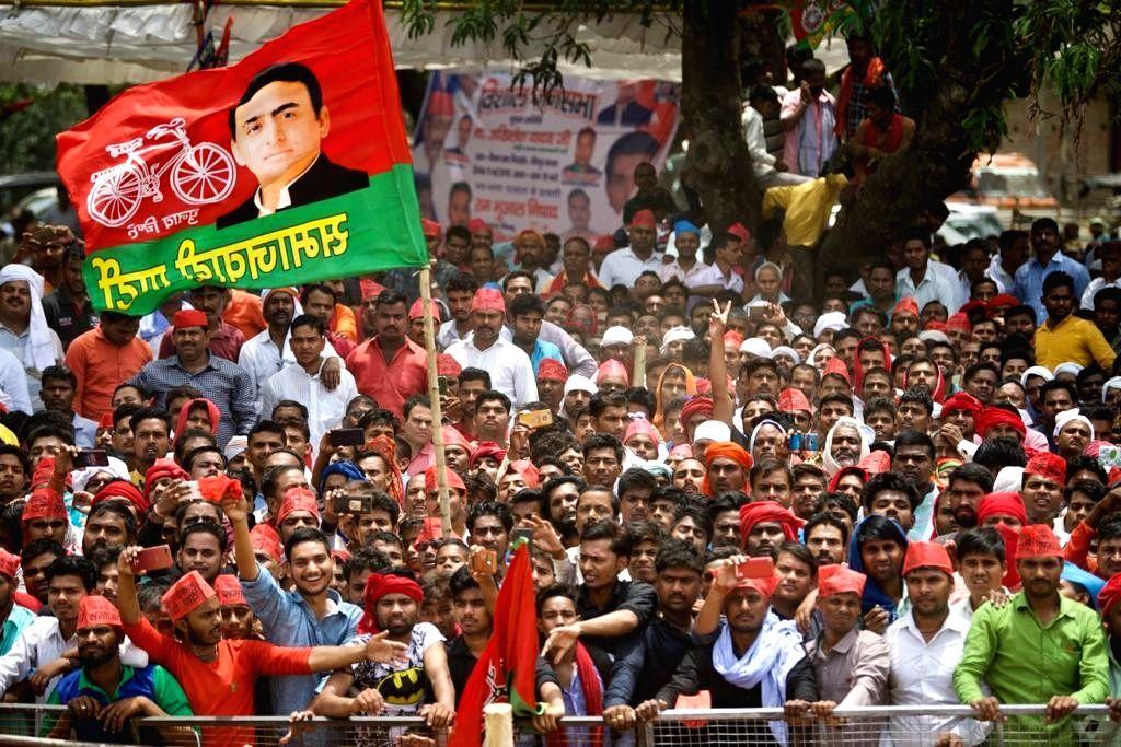 Gorakhpur (UP): Samajwadi Party (SP) supporters during party President Akhilesh Yadav's public rally ahead of the 2019 Lok Sabha elections, at Chillua Tal in Uttar Pradesh's Gorakhpur, on May 11, ... - Akhilesh Yadav