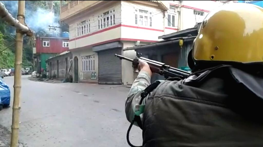Gorkha Janmukti Morcha (GJM) supporters clashed with police during a Gorkha Janamukti Morcha (GJM) indefinite shutdown in the northern Bengal hills; in Darjeeling on June 17, 2017.