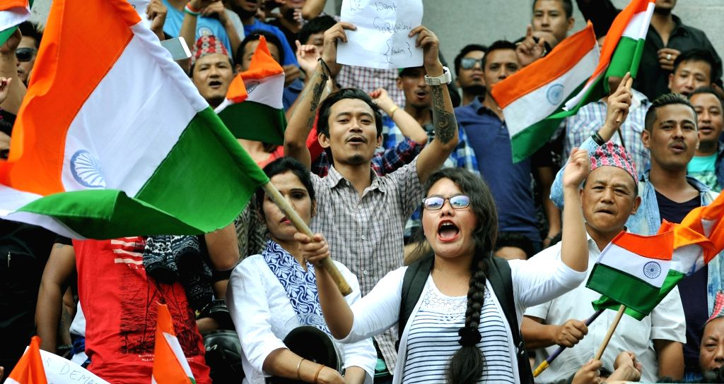 Gorkhas stage a demonstration to press for separate state of Gorkhaland, in Bengaluru, on June 20, 2017.