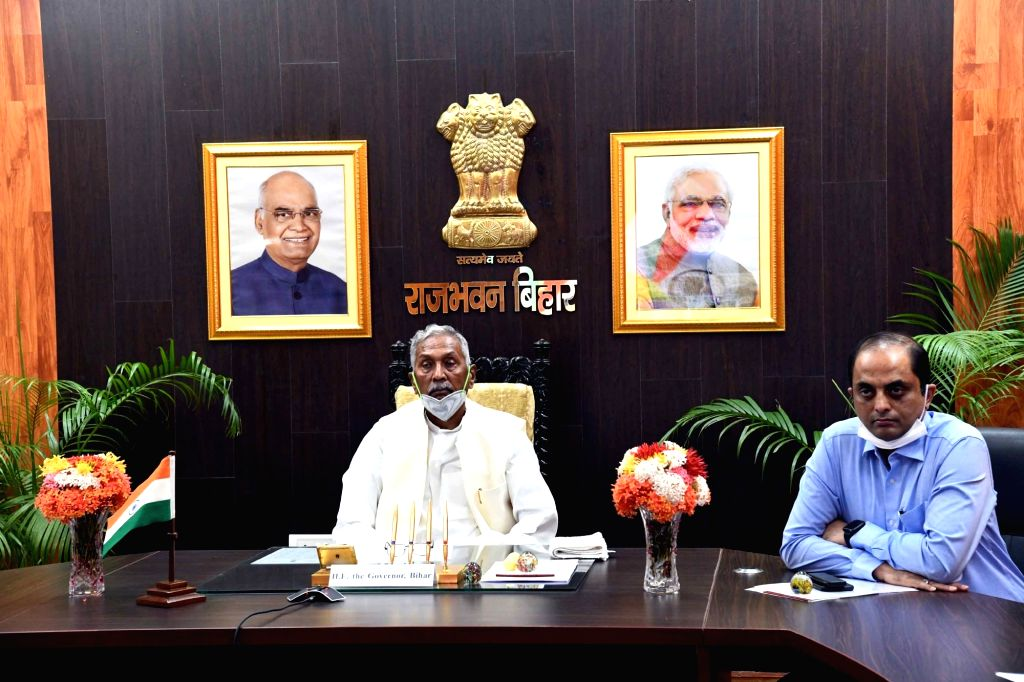 Governor Fagu Chauhan joins the launching of three projects of Ministry of Petroleum and Gas via video conferencing from Raj Bhavan in Patna on September 13, 2020. - Fagu Chauhan