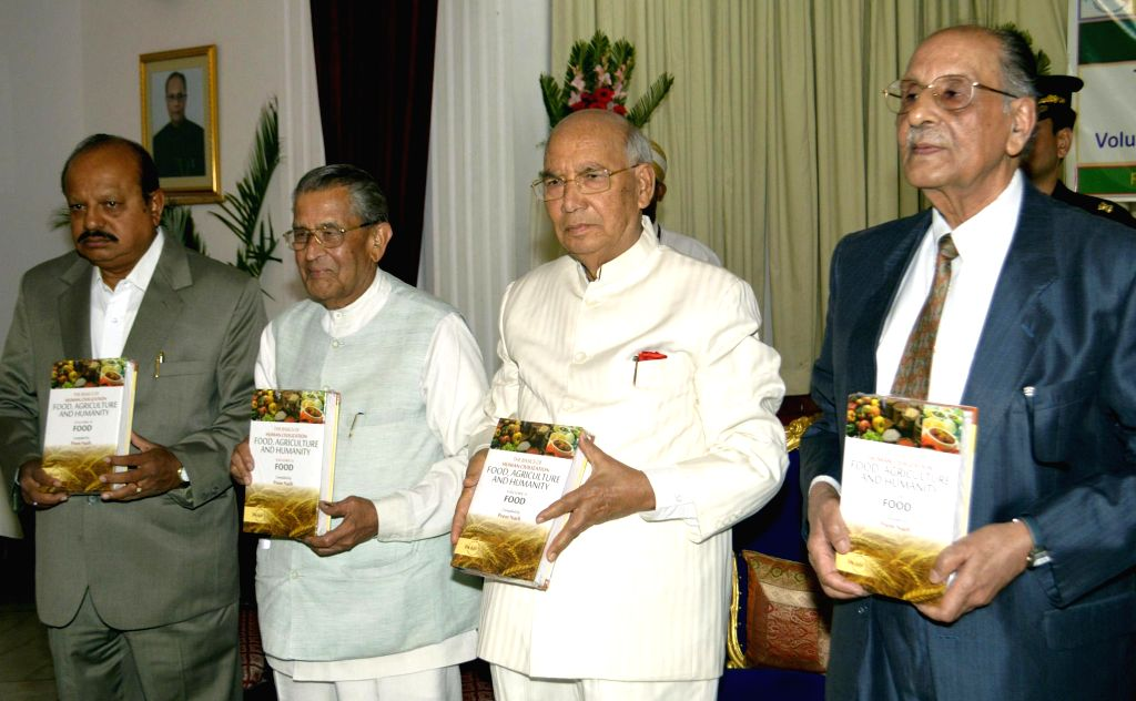 Governor HR Bharadwaj releases ``The basics of Human Civilization Food, Agriculture and Humanity`` with Minister TB Jayachandra, Former Union Minister MV Rajashekaran and Dr. Prem Nath, Chairman, ... - Prem Nath