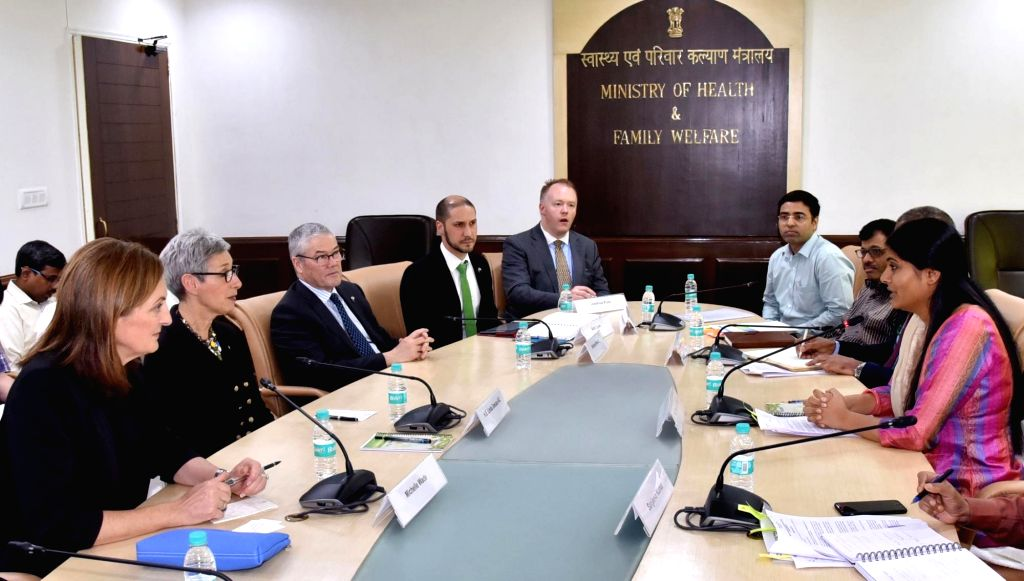 ​​Governor of Victoria, Australia ​​Linda Dessau AC meets ​​Union MoS Health and Family Welfare Anupriya Patel to discuss various opportunities in the health sector in New Delhi on Oct 4, ... - Welfare Anupriya Patel