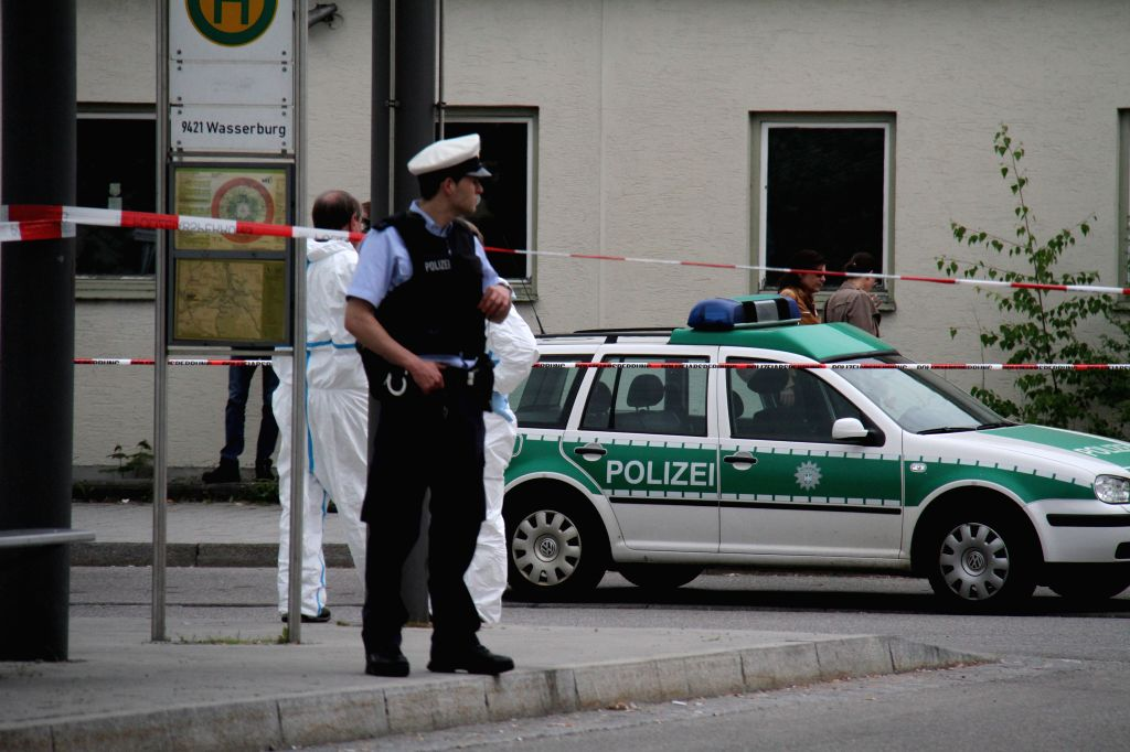 GRAFING, May 10, 2016 - A policeman guards the Grafing train station which is partly closed due to an incident in southern German city of Grafing, on May 10, 2016. A young man stabbed people ...