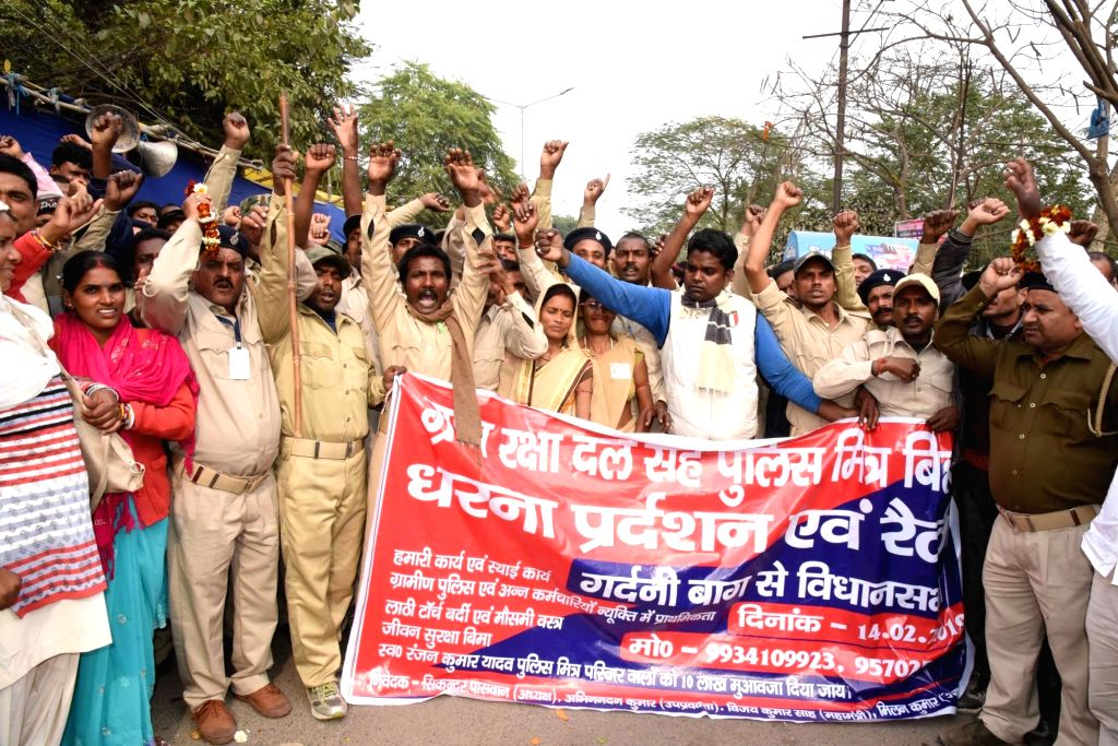 Gram Raksha Dal workers stage a demonstration to press for their demands in Patna on Feb 14, 2019.