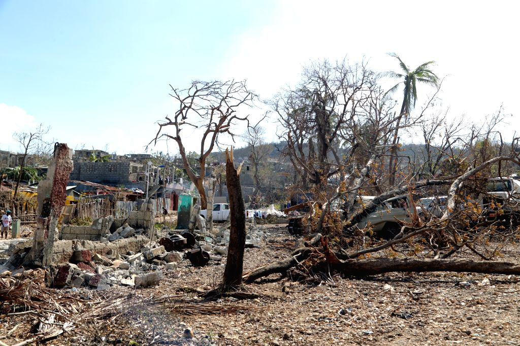 GRAND ANSE, Oct. 9, 2016 - Image provided by the United Nations Children's Fund (UNICEF) shows the village after the pass of Hurricane Matthew in the coastal zone of Town Jeremie, in the Grand-Anse ...