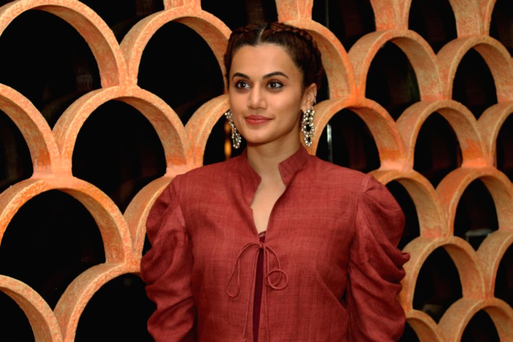 "Grater Noida: Actress Taapsee Pannu at the promotion of their upcoming film ""Manmarziyaan"" in Grater Noida on Sep 7,2018. - Taapsee Pannu"